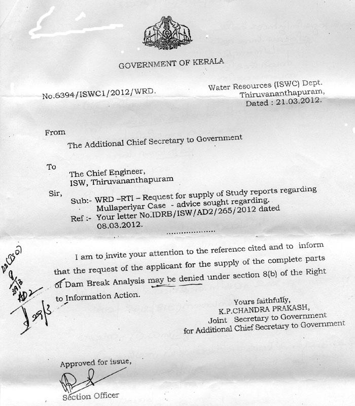 Order against disclosure of Mullaperiyar dam break analysis
