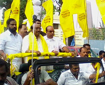 Vellappally  Natesan leading a march (file photo)